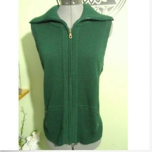 CHRISTOPHER & BANKS Sweater Vest S Green full zip
